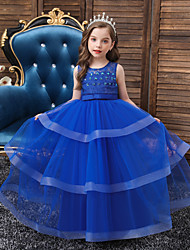 cheap -Princess Floor Length Engagement Party / Formal Evening Flower Girl Dresses - Lace / Satin / Polyester Sleeveless Jewel Neck with Lace / Sash / Ribbon / Beading