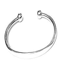 cheap -treasurebay men's solid 925 sterling silver torque bangle bracelet - plain silver bracelet for men