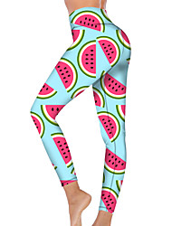 cheap -21Grams Women's High Waist Yoga Pants Cropped Leggings Tummy Control Butt Lift Breathable Watermelon Light Green Fitness Gym Workout Running Sports Activewear High Elasticity