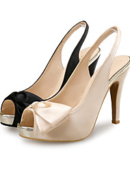 cheap -Women's Heels High Heel Peep Toe Wedding Pumps Satin Bowknot Solid Colored Almond Black