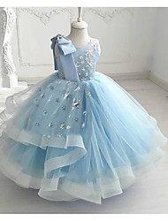 cheap -Princess / Ball Gown Floor Length Wedding / Party Flower Girl Dresses - Tulle Sleeveless Jewel Neck with Bow(s) / Tier / Appliques