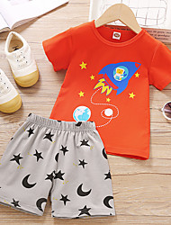 cheap -Kids Boys' Clothing Set Cartoon Short Sleeve Print Daily Wear Orange Basic Above Knee, Mini 2-6 Years