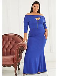 cheap -Women's Plus Size Plain Hollow Out Zipper Summer Swing Dress