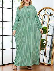 cheap -Women's Plus Size Dress Shift Dress Maxi long Dress Long Sleeve Striped Print Casual Spring &  Fall Summer Green One Size