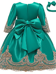 cheap -Kids Little Girls' Dress Solid Colored Party Birthday Party Bow Blue Wine Green Above Knee Half Sleeve Princess Cute Dresses Children's Day All Seasons Slim 3-10 Years