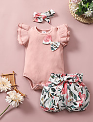 cheap -Baby Girls' Basic Floral Bow Print Short Sleeve Regular Clothing Set Blushing Pink
