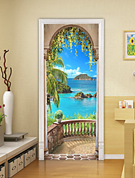 cheap -2pcs Self-adhesive Creative Seaside Scenery Door Stickers For Living Room Diy Decorative Home Waterproof Wall Stickers