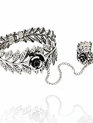 cheap -ruizhen antique silver leaf flower hand bracelet hand chain tassel harness slave bracelet link finger ring