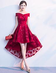 economico -abito toast monospalla 2020 nuova primavera sposa matrimonio porta sul retro rosso davanti corto dietro abito lungo abito femminile di media lunghezza