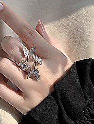 cheap -aimimier cubic zirconia butterfly ring sparkling crystal bow-knot knuckle ring wedding jewelry for women and girls (gold)