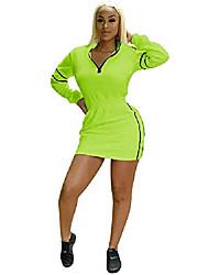 cheap -kafiloe womens party pencil short dresses bodycon long sleeve zip up slim fitted mini dress clubwear green m