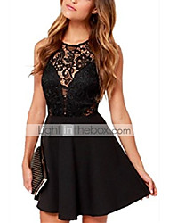 cheap -Sleeveless Sleeveless Flowers Lace Chiffon Backless Mini Dress Skater Dress A-Lines Flared Dress Black L.
