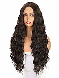 cheap -earfodo long wavy wigs for women mix brown highlights wig synthetic heat resistant fiber middle part curly wave wig for daily party use