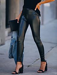 cheap -Women's Punk & Gothic Chino Comfort Skinny Slim Going out Work Pants Plain Ankle-Length Elastic Drawstring Design Print Black
