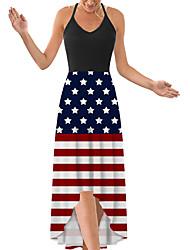cheap -Women's Strap Dress Maxi long Dress Blue Rainbow White Black Red Light Blue Sleeveless Print Flag Print Spring Summer V Neck Casual 2021 S M L XL XXL
