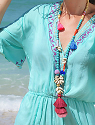 cheap -Women's Beaded Necklace Necklace Tassel Shell Colorful Fashion Holiday Boho Cord Crystal Stone Picture color 90 cm Necklace Jewelry 1pc For Street Gift Birthday Party Beach Festival / Long Necklace