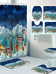 cheap -Fantasy Theme Starry Sky Mountain Mushroom Bathroom Waterproof Shower Curtain and Hook Cushion Four-piece Casual Decoration
