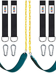 """cheap -2 Pack Swings Seats Heavy Duty with 66"""" Chain Plastic Coated, Playground Swing Set Accessories Replacement with Snap Hooks and Hanging Strap"""
