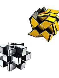 cheap -Mirror Speed Cube Set Magic Cube Pack of 2 Dysmorphism 3x3x3 Mirror Golden Wheel Cube and Mirror Silver Cube Twist Speed Cube Bundle Puzzle Games Toy for Children and Adults