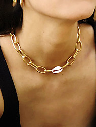 cheap -necklace natural shell geometric metal necklace short clavicle chain