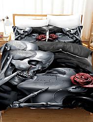 cheap -Halloween Duvet Cover Set, Happy Halloween Human Skeleton Kiss Skull Bones Image, Decorative 2/3 Piece Bedding Set with 1 or 2 Pillow Shams, Queen King Size,Black