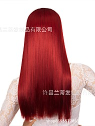 cheap -new style hair band wig fake delivery source for ladies wine red long straight hair pasted chemical fiber headgear