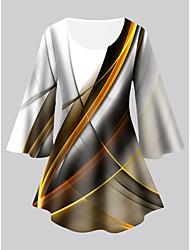 cheap -Women's Plus Size Tops Tunic Print Graphic Large Size Crewneck 3/4 Length Sleeve Basic Big Size XL XXL 3XL 4XL 5XL Yellow