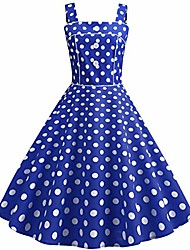 cheap -women vintage 1950s polka dot retro square neck cocktail prom dresses 50's 60's rockabilly bandage straps button audrey hepburn swing dress wedding party evening gown casual flared dress 02#blue s