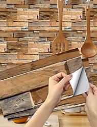 cheap -Imitation Wood Grain Ceramic Tile Kitchen Bathroom Self-adhesive Paper Waterproof And Oil-proof Sandalwood Wood Grain Sheet Self-adhesive Decorative Wall Sticker