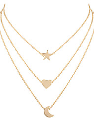 cheap -ladies' sweet alloy star and moon pendant necklace, fashion jewelry
