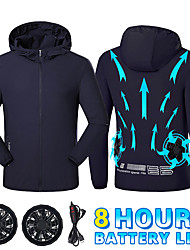 cheap -Summer Cooling Fan Jacket Lightweight Jacket Windbreaker Top Cycling Fishing Men Women USB Power Supply Camping Running Hiking Air Conditioning Clothes