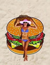 cheap -Polyester Fibre Beach Towel,Hamburger Fries Print Quick Dry and Sand Proof Suitable for Beach, Pool, Travel and Camping Compact and Lightweight  Extra Large 150x150cm   Modern & Unique Design Printed