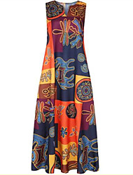 cheap -Women's Plus Size Sheath Dress Maxi long Dress Red Orange Sleeveless Print Patchwork Print Spring Summer V Neck Vintage 2021 XL XXL 3XL 4XL 5XL