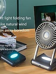 cheap -F5 Mini Silent Handheld Fan LED Night Light Fan Desktop Folding Small Electric Fan Portable Fan For Home Office Travel