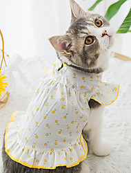 cheap -Dog Cat Shirt / T-Shirt Flower Basic Adorable Cute Casual / Daily Dog Clothes Puppy Clothes Dog Outfits Breathable Yellow Costume for Girl and Boy Dog Cotton Fabric XS S M L XL XXL
