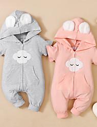 cheap -Baby Girls' Basic Print Short Sleeves Romper Blushing Pink