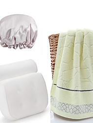 cheap -Bathroom Bath Set White Breathable 3D Mesh Cloth Shower Headrest Cushion to Release Neck Pressure and Suction Cups a Waterproof Shower Cap and a 100% Cotton Towel (random color)
