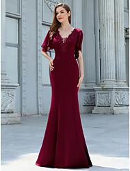cheap -Mermaid / Trumpet V Neck Floor Length Chiffon Bridesmaid Dress with Appliques