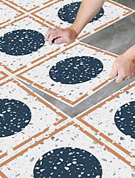 cheap -8pcs Creative Kitchen Bathroom Living Room Floor Stickers Non-slip Waterproof Wear-resistant Peacock Blue Terrazzo Floor Stickers