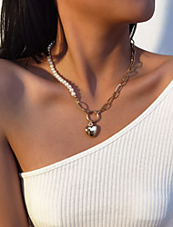 cheap -Women's Pendant Necklace Chain Necklace Patchwork Heart Statement Elegant Fashion Vintage Imitation Pearl Gold Silver 40 cm Necklace Jewelry 1pc For Party Evening Street Gift Birthday Party