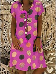 cheap -2021 cross-border supply amazon aliexpress wish fashion hot sale short-sleeved v-neck printed mid-length dress