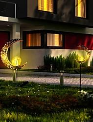cheap -Outdoor Solar Lights Waterproof LED Solar Lawn Lamp Moon Sun Flame Retro Hollow Projection Lamp Wrought Iron Ground Plug Lawn Lamp Courtyard Landscape Ramadan Solar Decoration Night Light Garden Light