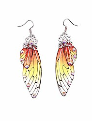 cheap -unique asymmetry big monarch colorful butterfly wing drop dangle earrings crystal dragonfly wing earrings elegant acrylic insect jewelry for women girls gifts-c orange