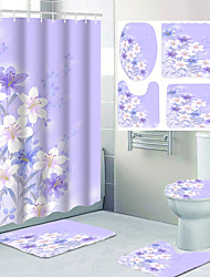 cheap -Flower Pattern Bathroom Waterproof Shower Curtain and Cushion Four-piece Modern Polyester New Design