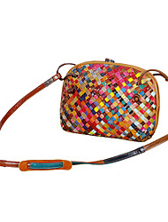 cheap -cross-border agent manufacturer new leather hand-woven bag color stripe ethnic style shell lady small shoulder bag