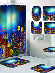 cheap -Undersea Fish Ocean Theme Bathroom Waterproof Shower Curtain and Hook Cushion Four-piece Casual Decoration