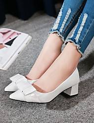 cheap -Women's Heels Block Heel Pointed Toe PU Bowknot Solid Colored White Red Pink