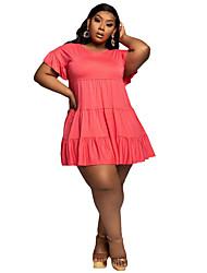 cheap -Women's Plus Size Dresses A Line Dress Plain Summer XL XXL XXXL 4XL 5XL