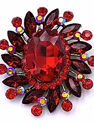 cheap -selovo marquise color large red brooch pin flower accessory antique gold tone