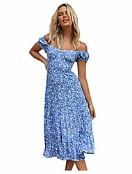 cheap -Women's A Line Dress Knee Length Dress Photo Color Short Sleeve Pattern Spring & Summer Casual 2021 S M L XL XXL XXXL 4XL 5XL